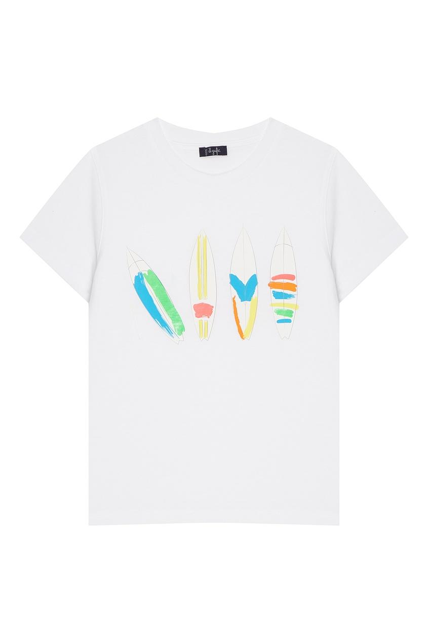 Купить Хлопковая футболка с ярким принтом белого цвета