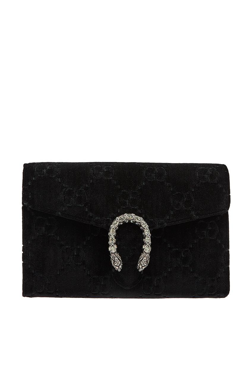 Фото - Бархатный клатч на цепочке Dionysus GG от Gucci черного цвета