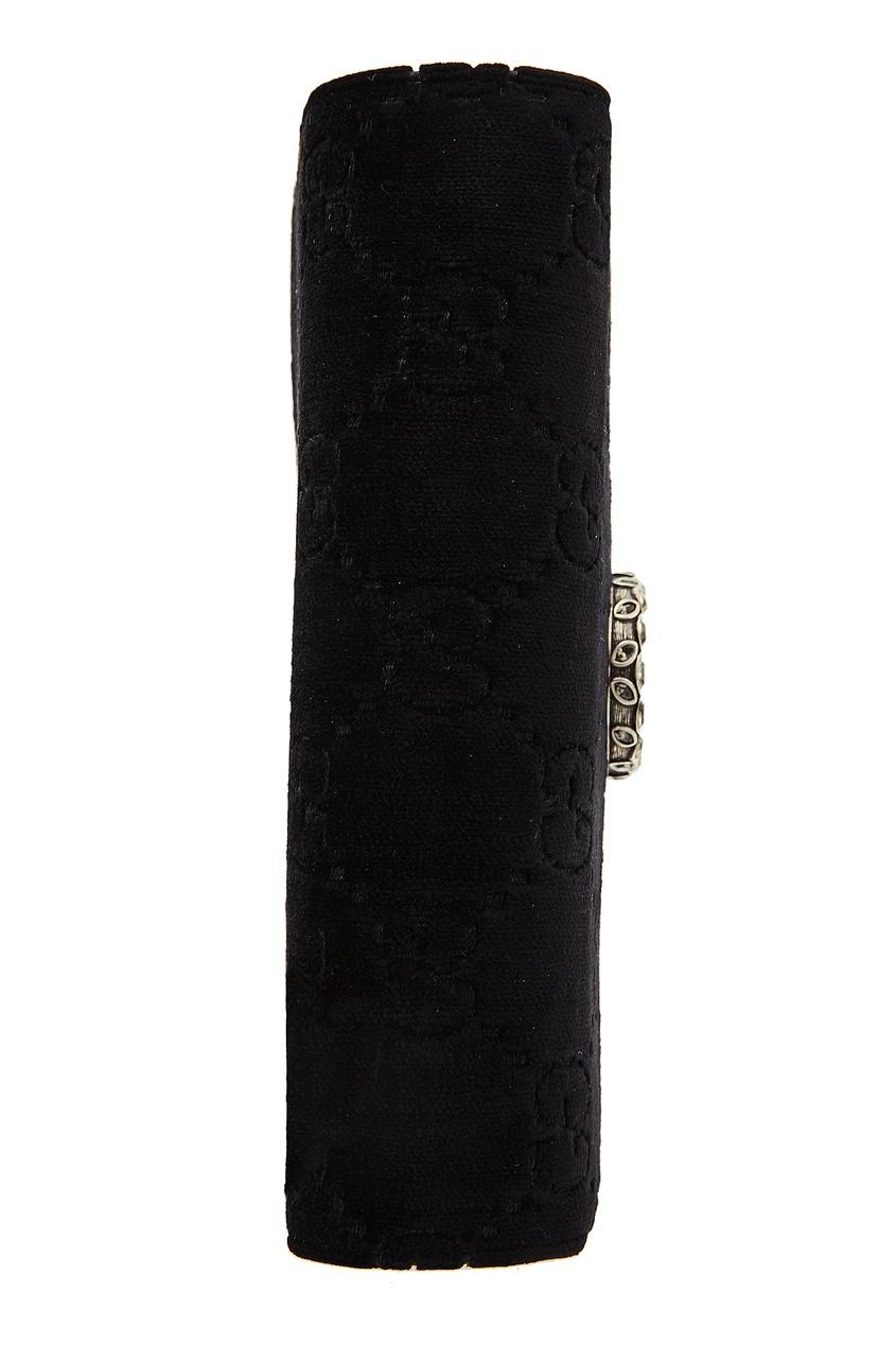 Фото 6 - Бархатный клатч на цепочке Dionysus GG от Gucci черного цвета