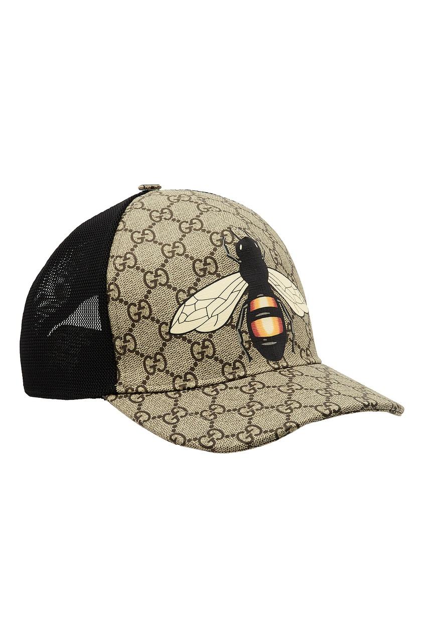 Фото - Бейсболка GG Supreme с пчелой от Gucci бежевого цвета