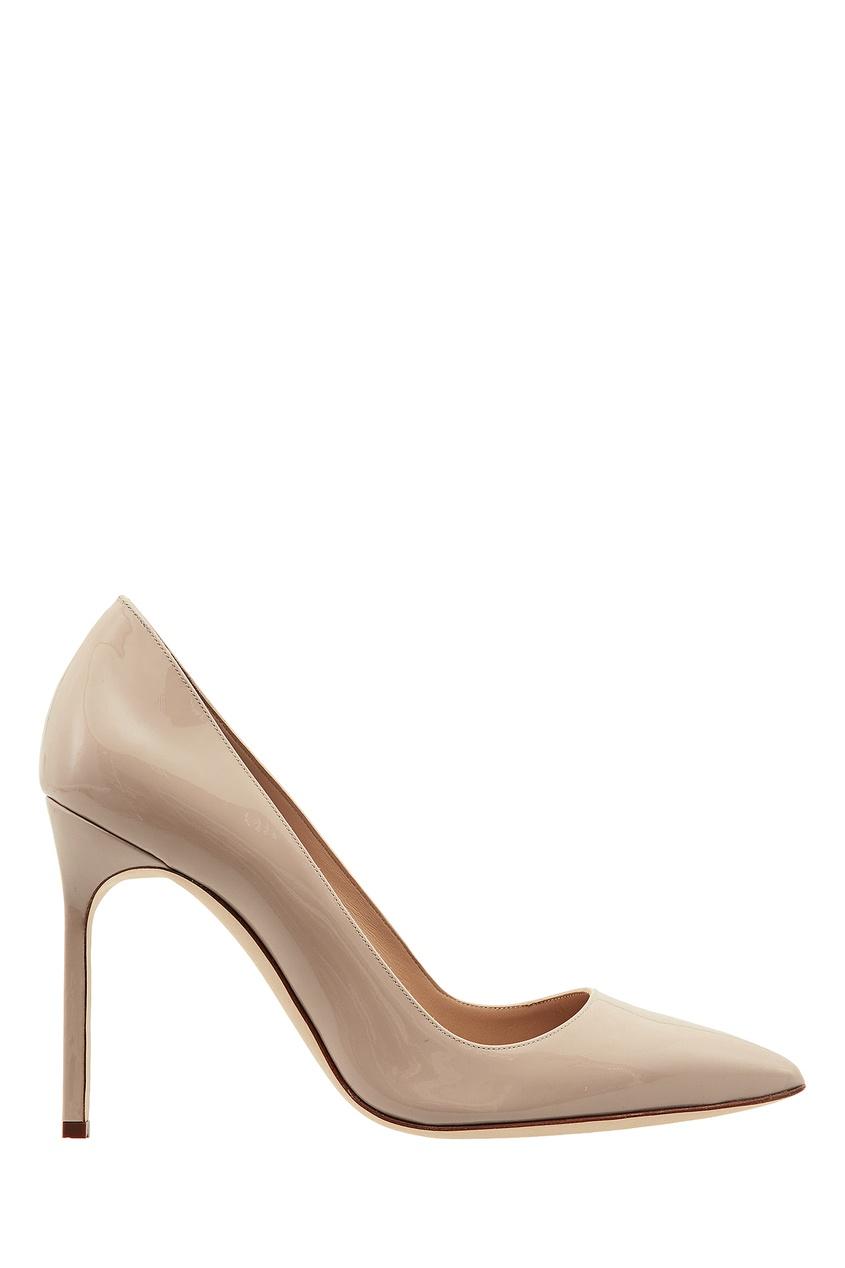 Купить Бежевые лакированные туфли BB от Manolo Blahnik бежевого цвета