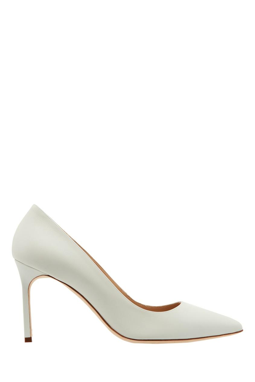 Белые туфли BB из кожи от Manolo Blahnik