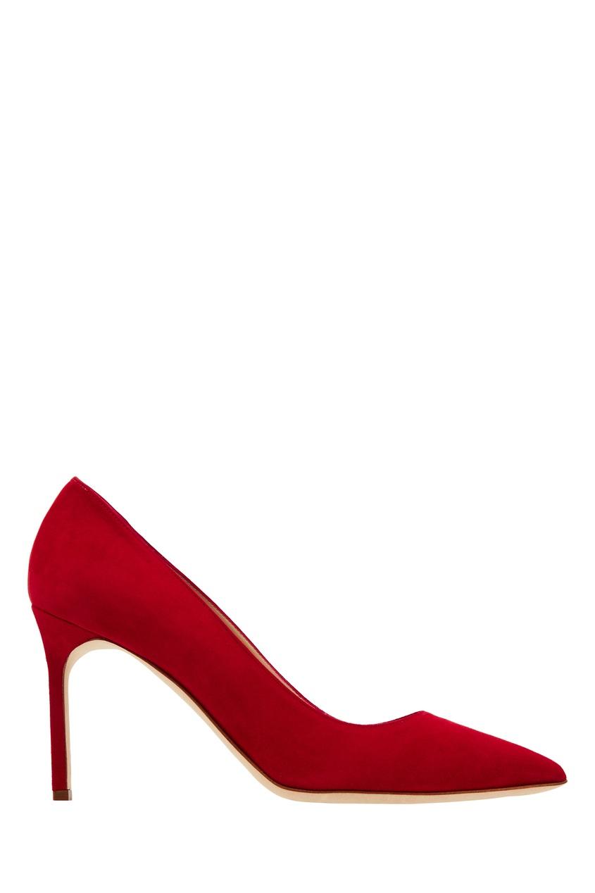 Купить Красные замшевые туфли BB от Manolo Blahnik красного цвета