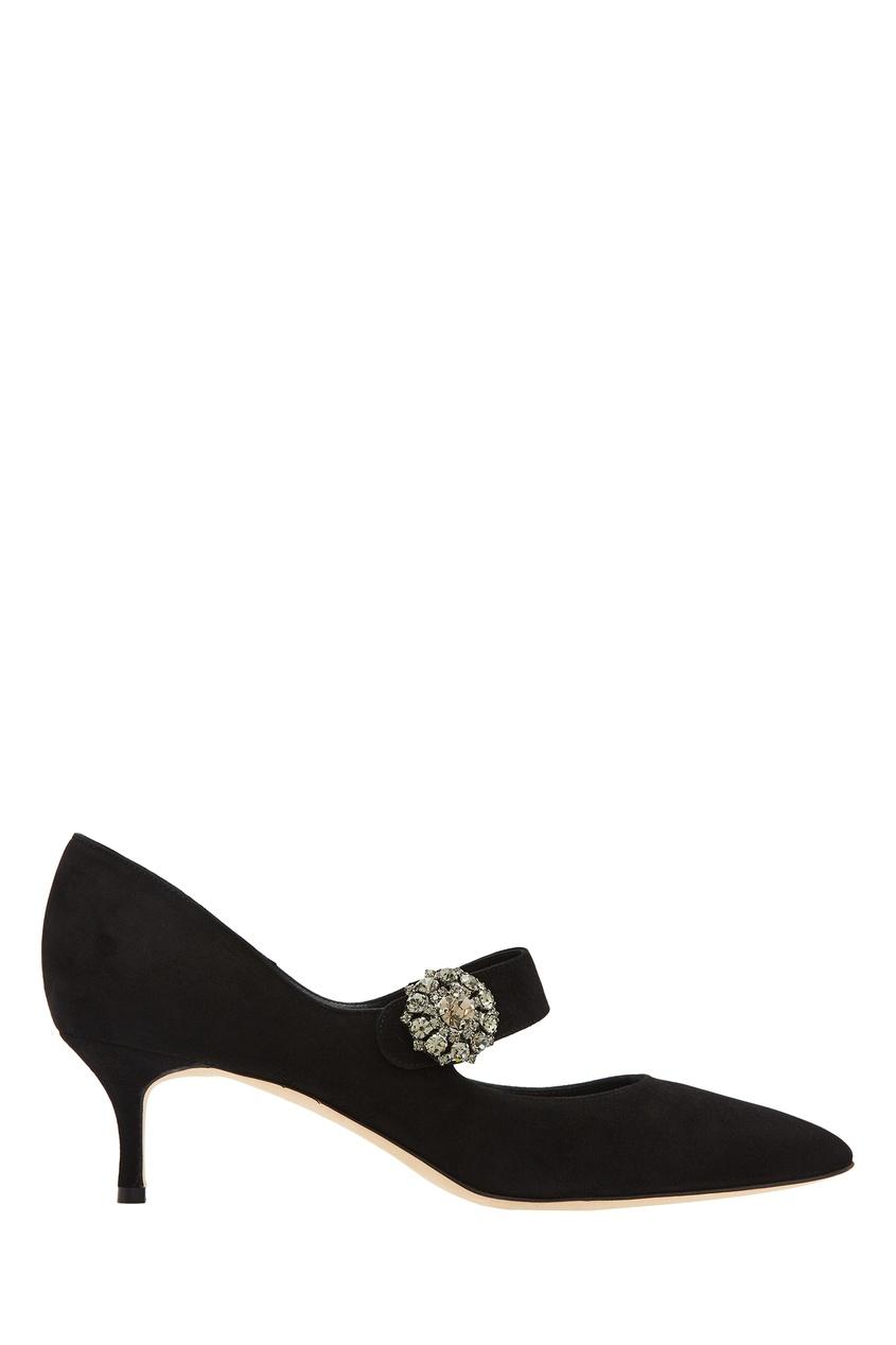 Черные замшевые туфли Verna Manolo Blahnik