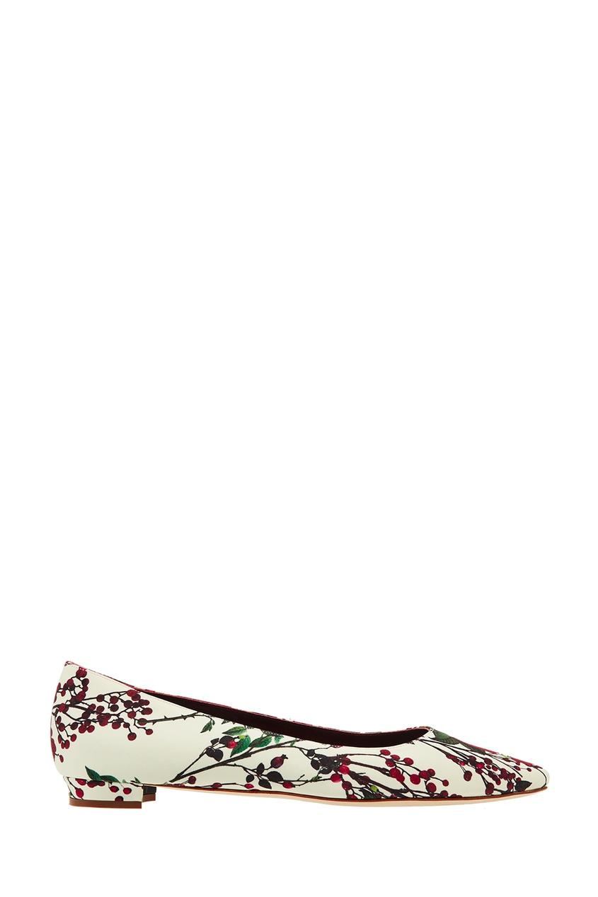 Купить Туфли BBflatlan с цветочным принтом от Manolo Blahnik цвет multicolor