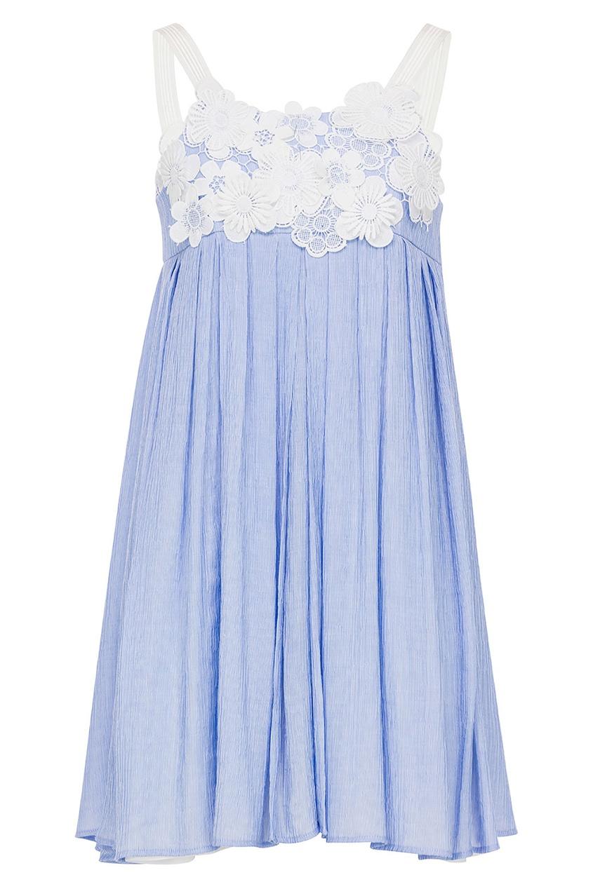 Голубое платье с отделкой Claudie Pierlot