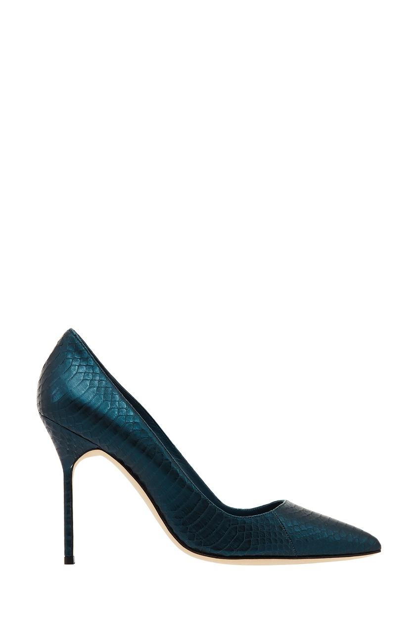 Синие фактурные туфли BB Manolo Blahnik