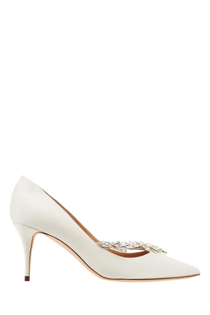 Купить Белые туфли Nadira от Manolo Blahnik бежевого цвета
