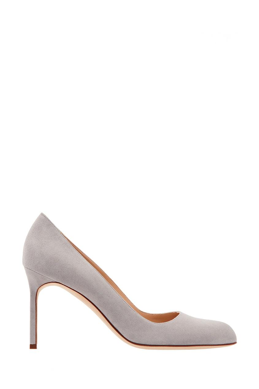 Купить Серые замшевые туфли BBR от Manolo Blahnik серого цвета