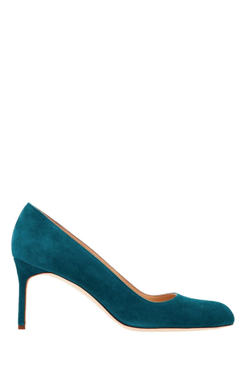 Фото - Бирюзовые туфли BBR из замши от Manolo Blahnik синего цвета