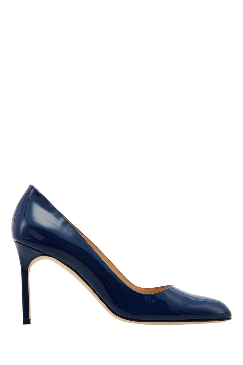 Синие лакированные туфли BBR Manolo Blahnik