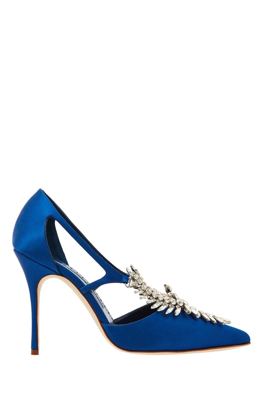Синие туфли с декором Lala Manolo Blahnik