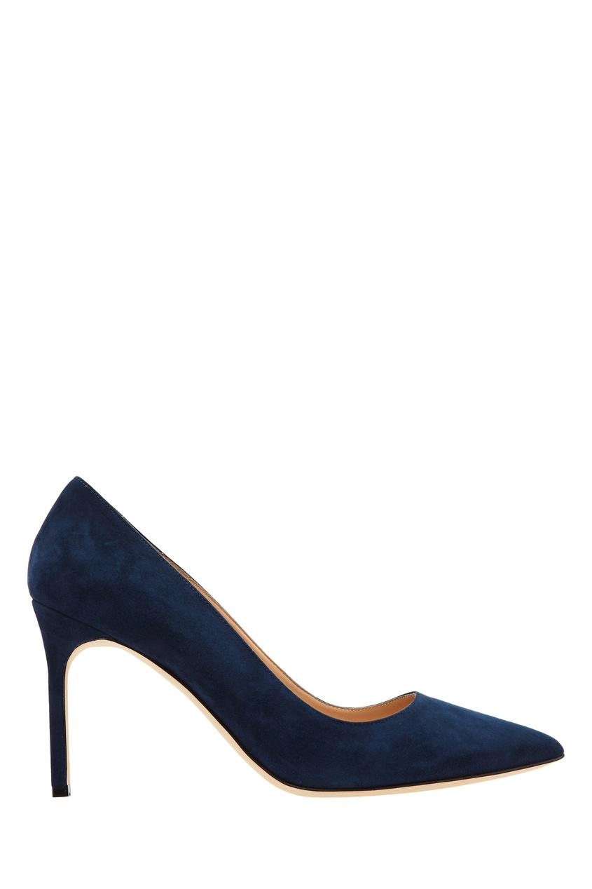 Купить Темно-синие туфли BB из замши от Manolo Blahnik синего цвета