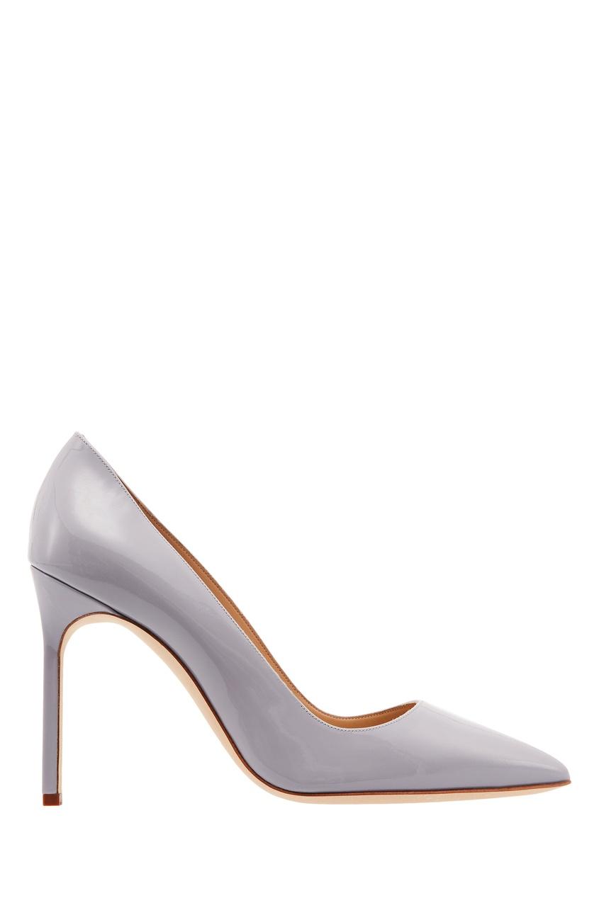 Серые лакированные туфли BB от Manolo Blahnik