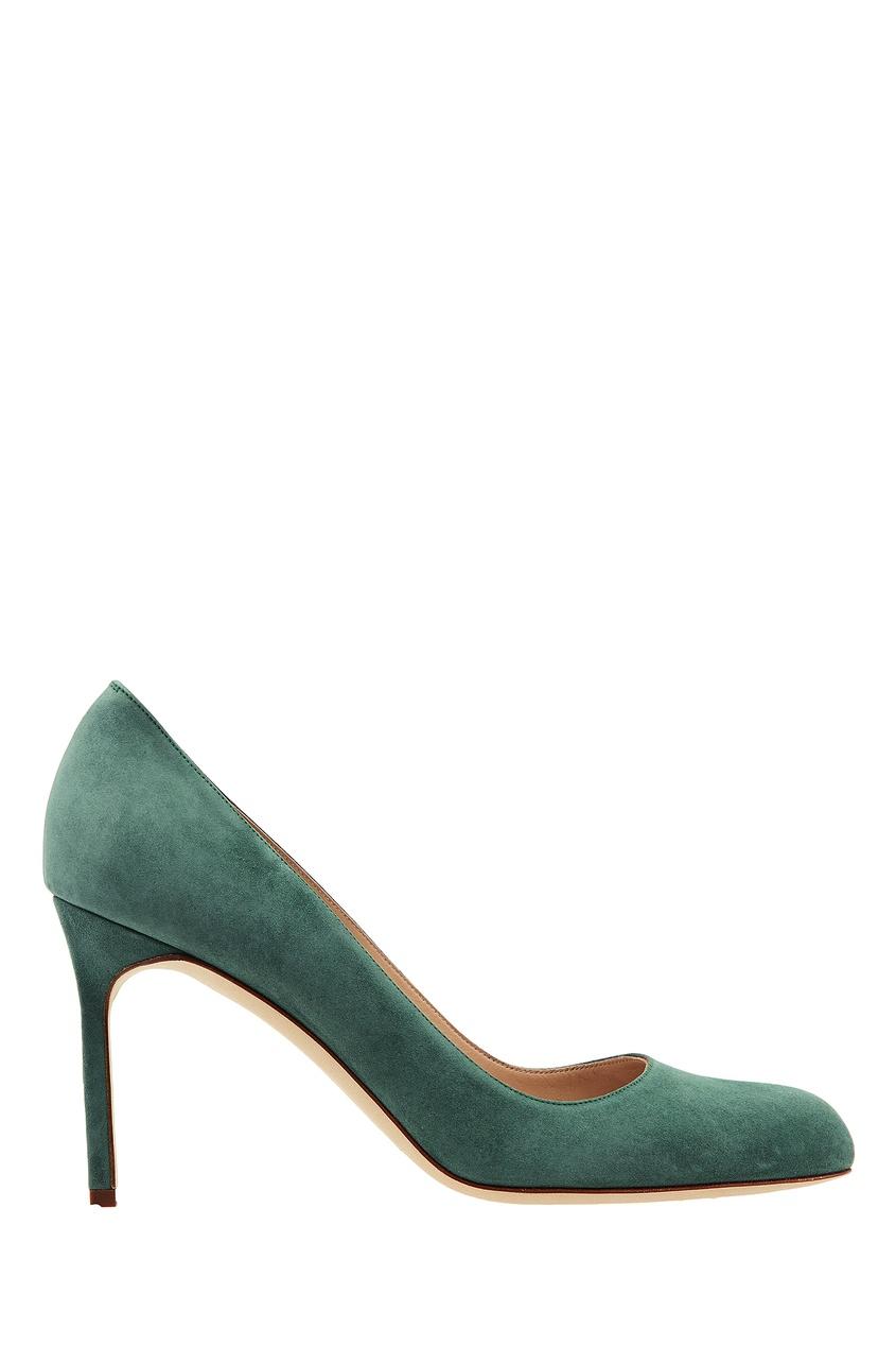 Зеленые туфли BBR из замши Manolo Blahnik