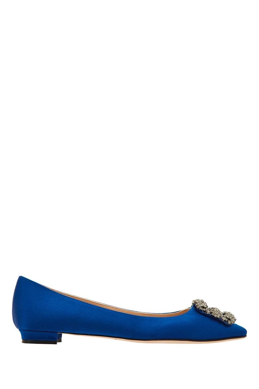 Фото - Синие туфли Hangisiflat с отделкой от Manolo Blahnik синего цвета