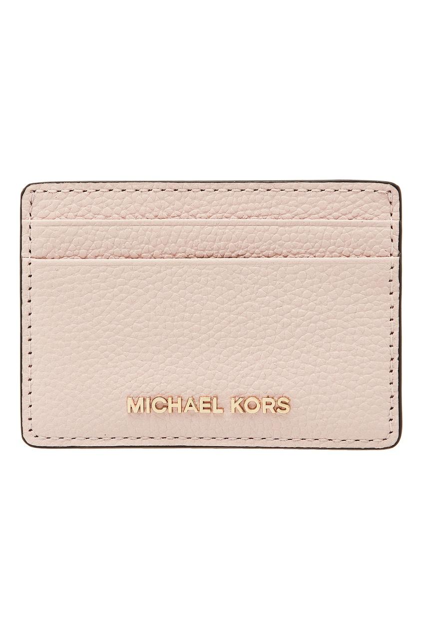 Пудровая кожаная визитница от Michael Michael Kors