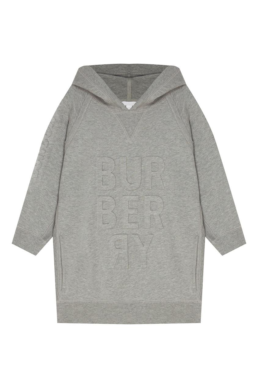 Купить Серое хлопковое худи с отделкой от Burberry Kids серого цвета