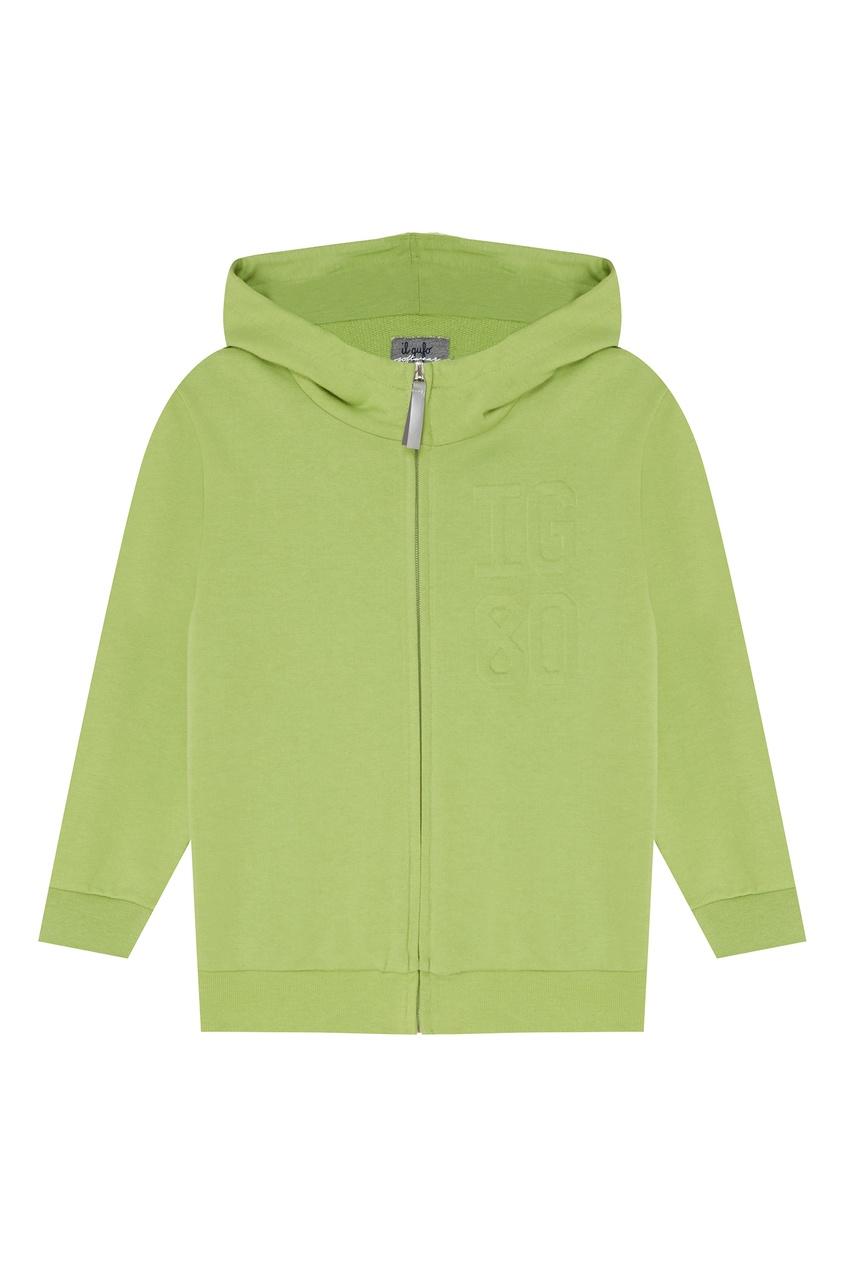 Купить Зеленое хлопковое худи на молнии зеленого цвета
