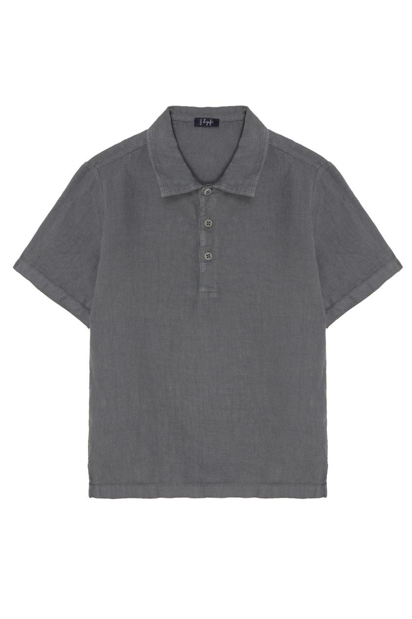 Купить Серая льняная рубашка серого цвета