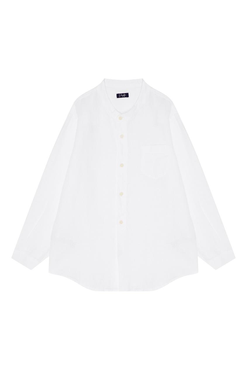 Купить Белая льняная рубашка белого цвета