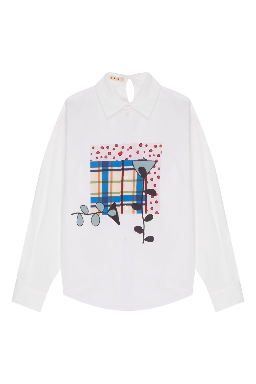 Купить Хлопковая рубашка с принтом от Marni Kids белого цвета