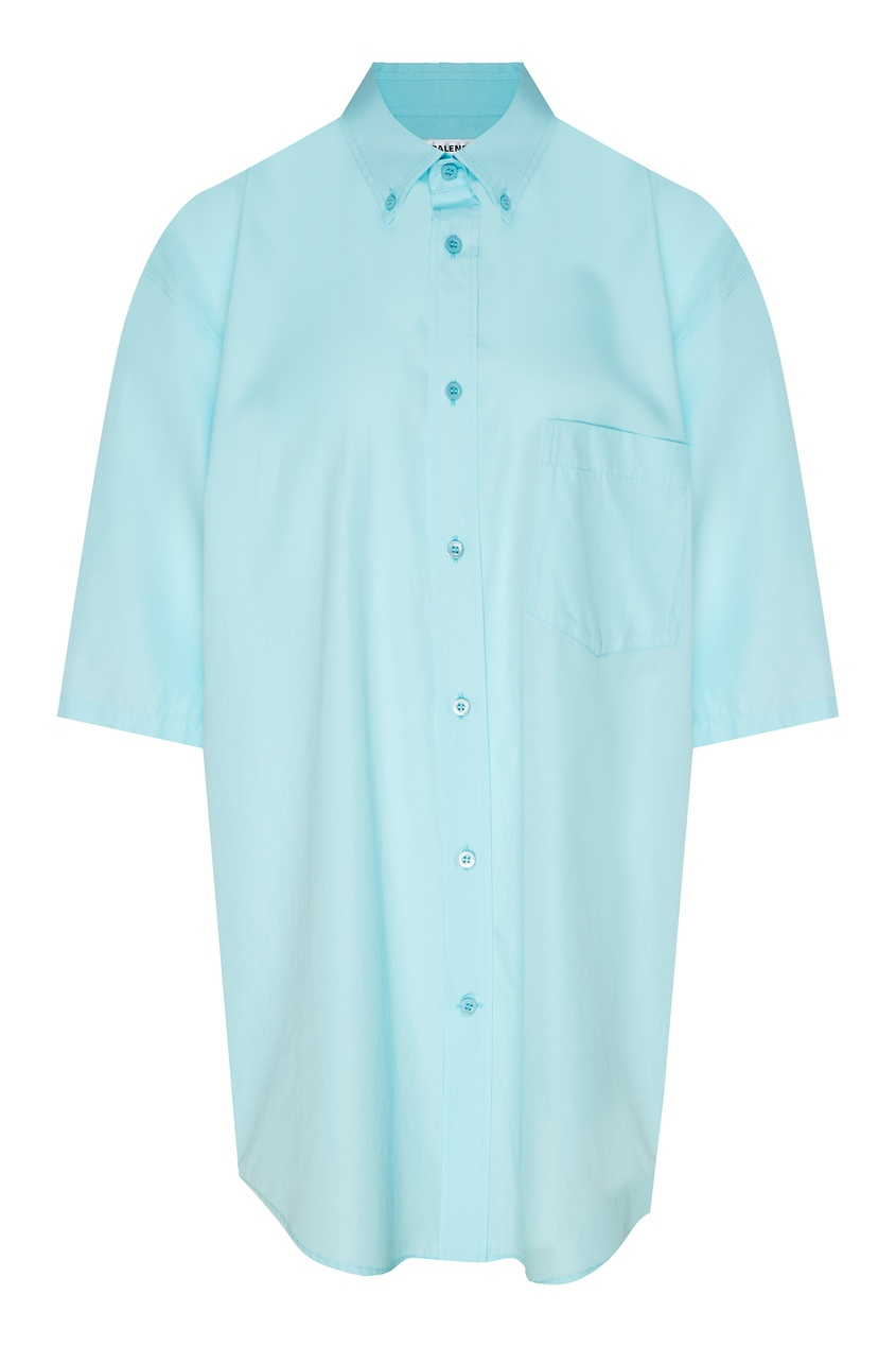 Фото - Светло-бирюзовая рубашка с логотипом от Balenciaga голубого цвета
