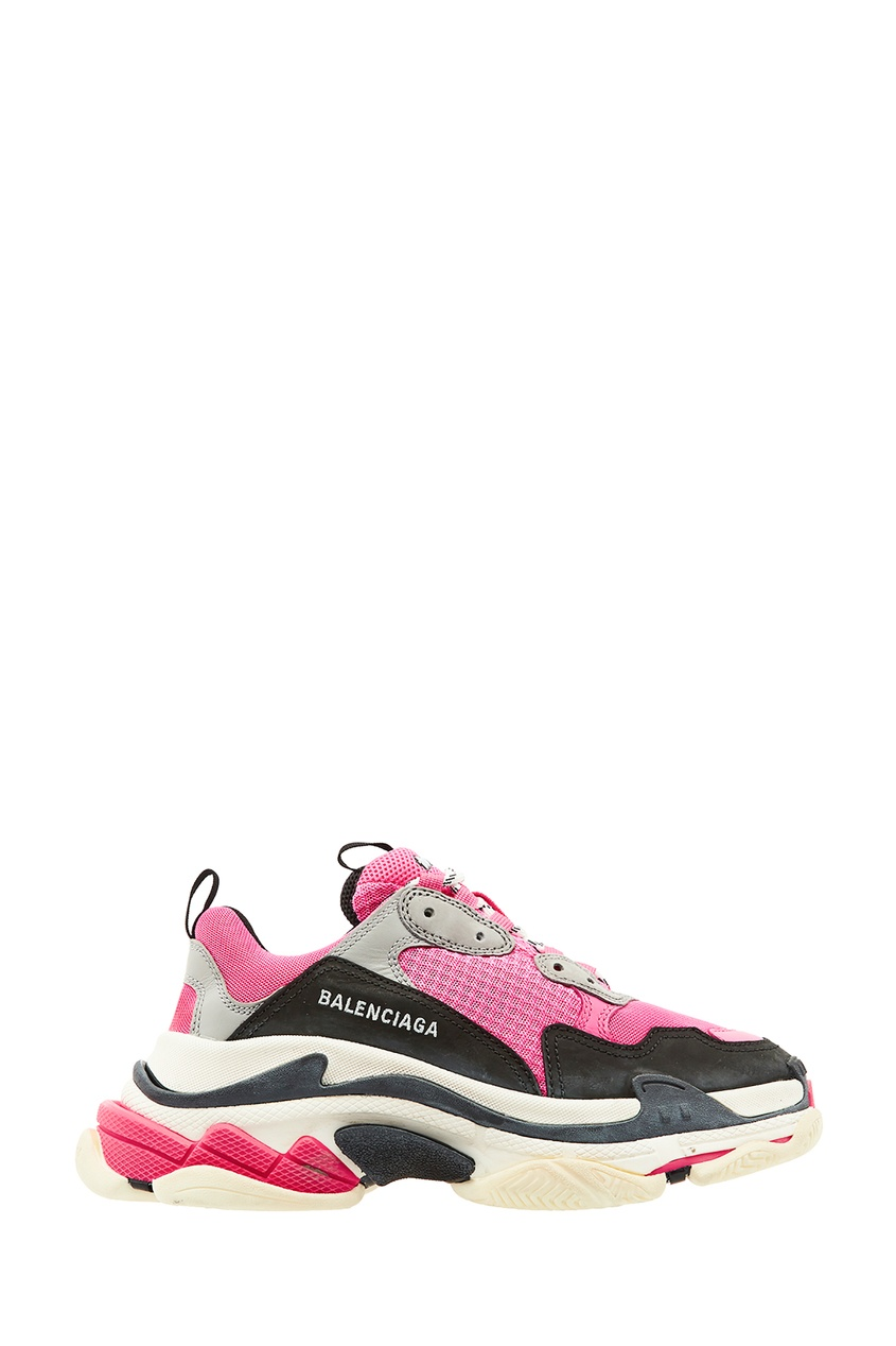 Серо-черно-розовые кроссовки Triple S