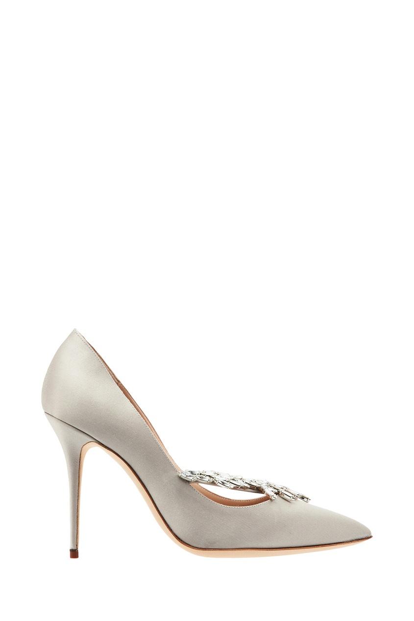 женские туфли manolo blahnik, серые
