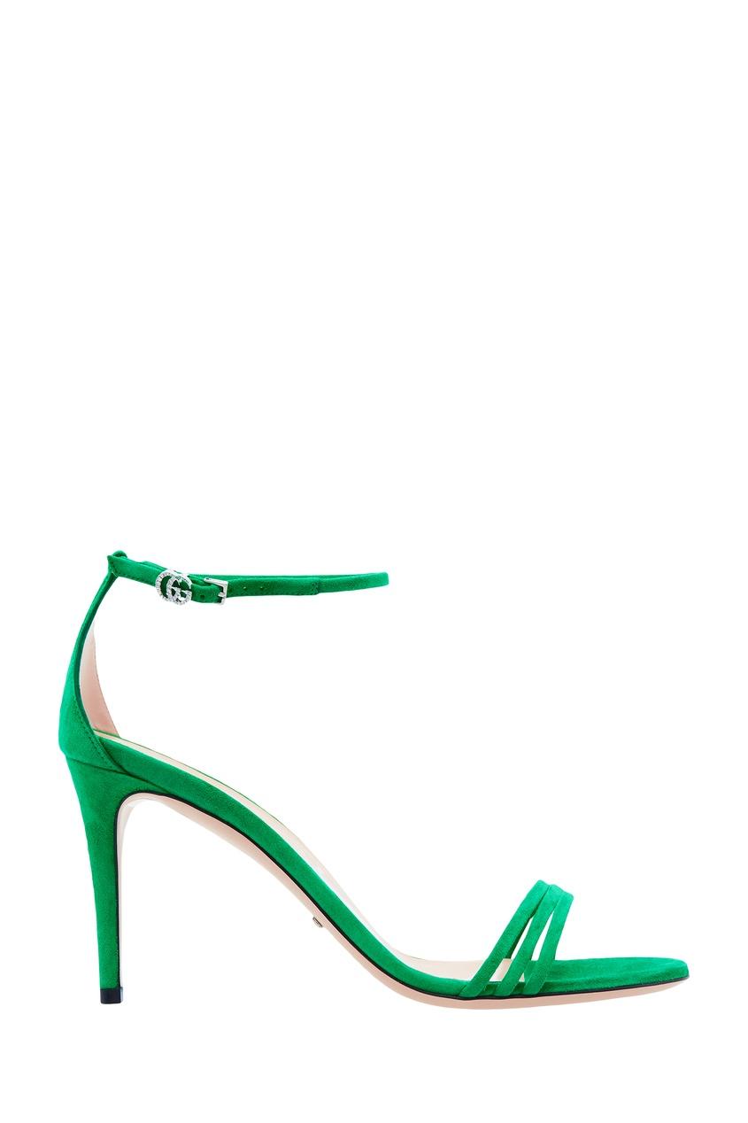 Фото - Зеленые босоножки на шпильке от Gucci зеленого цвета