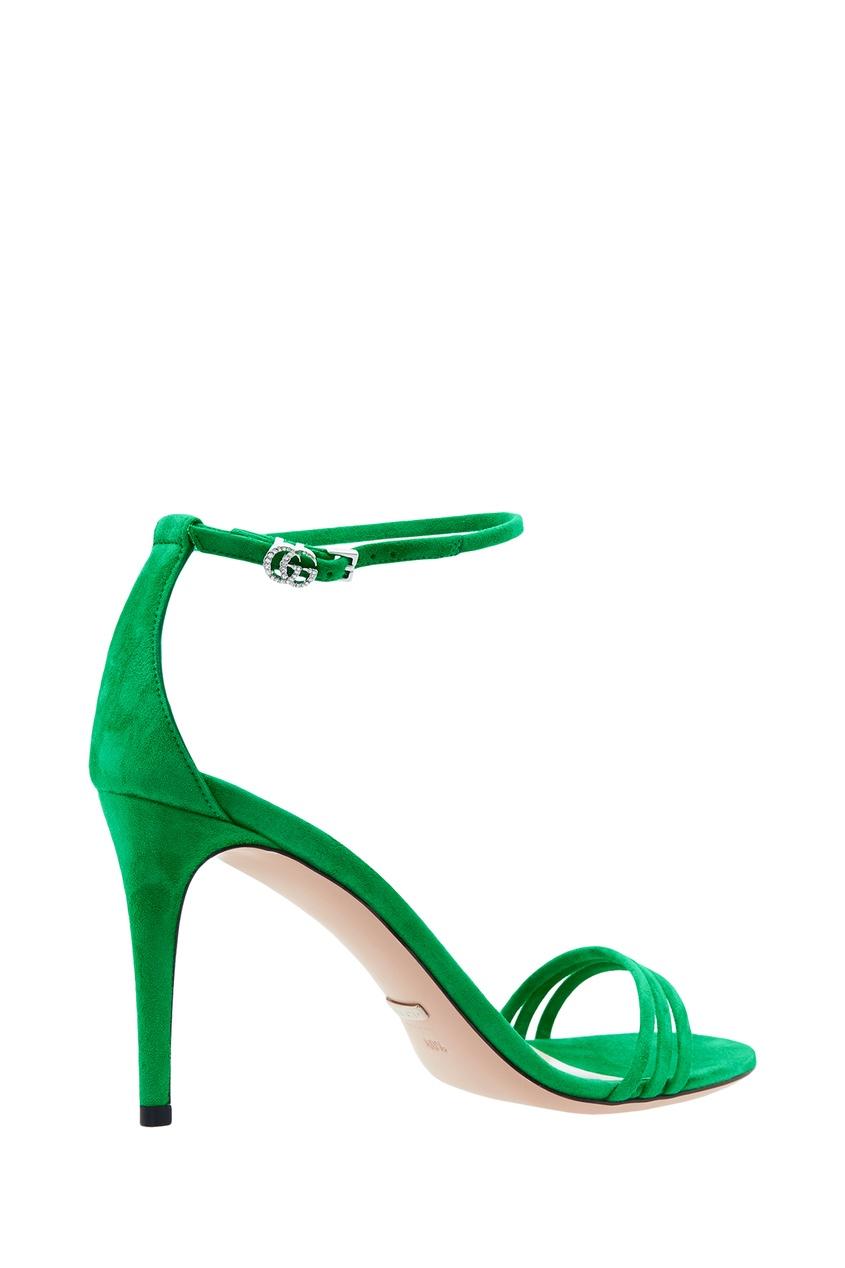 Фото 5 - Зеленые босоножки на шпильке от Gucci зеленого цвета