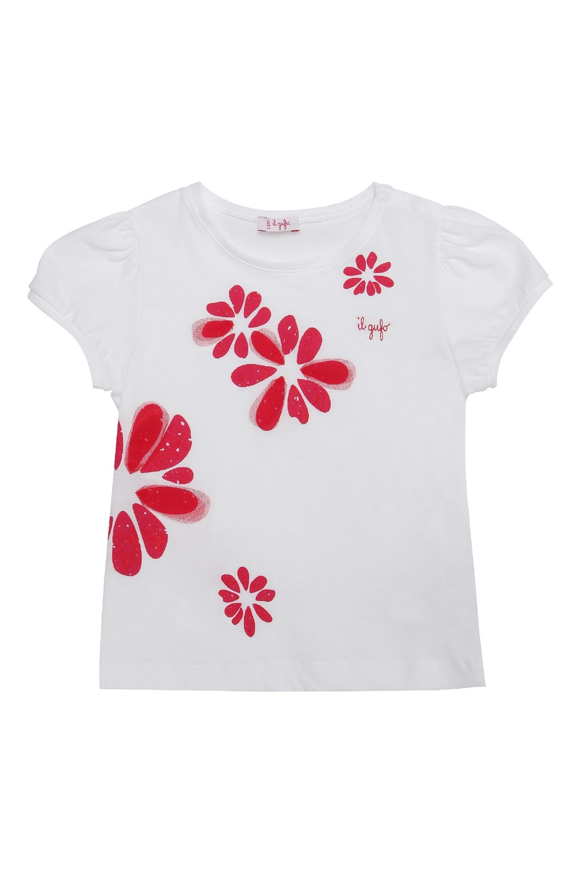 Белая футболка с красными цветами IL Gufo