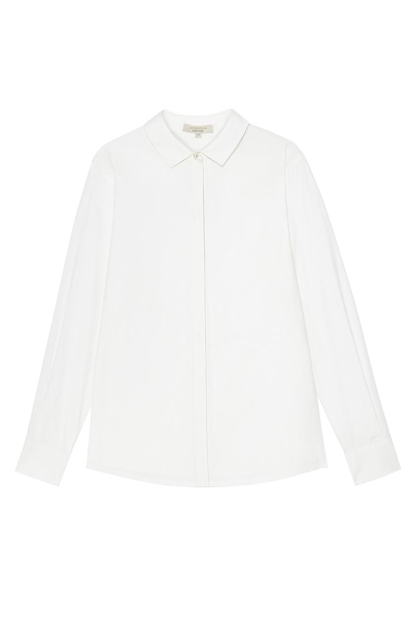 Белая блуза с потайной застежкой