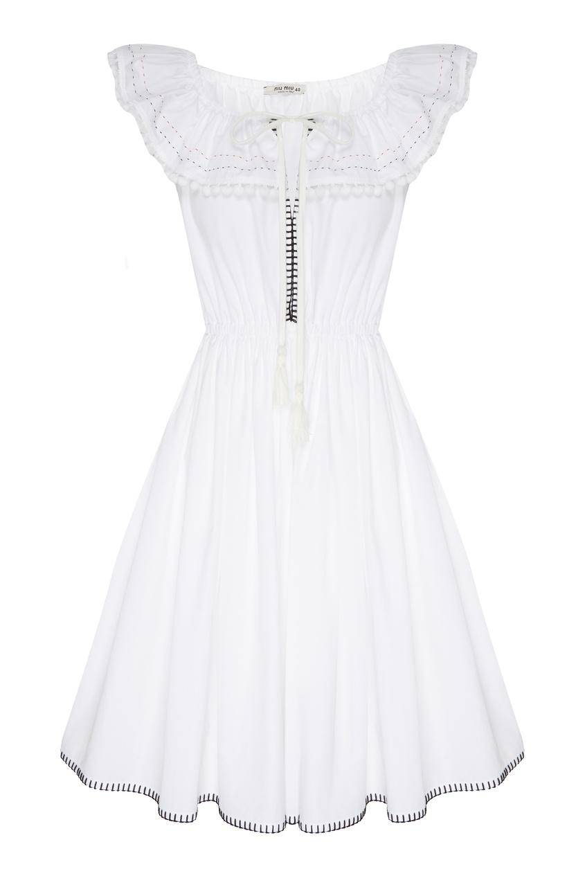 Купить Белое поплиновое платье с помпонами от Miu Miu белого цвета