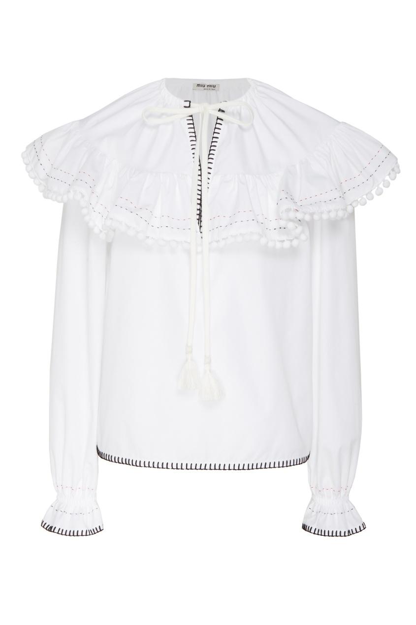 женская блузка miu miu, белая