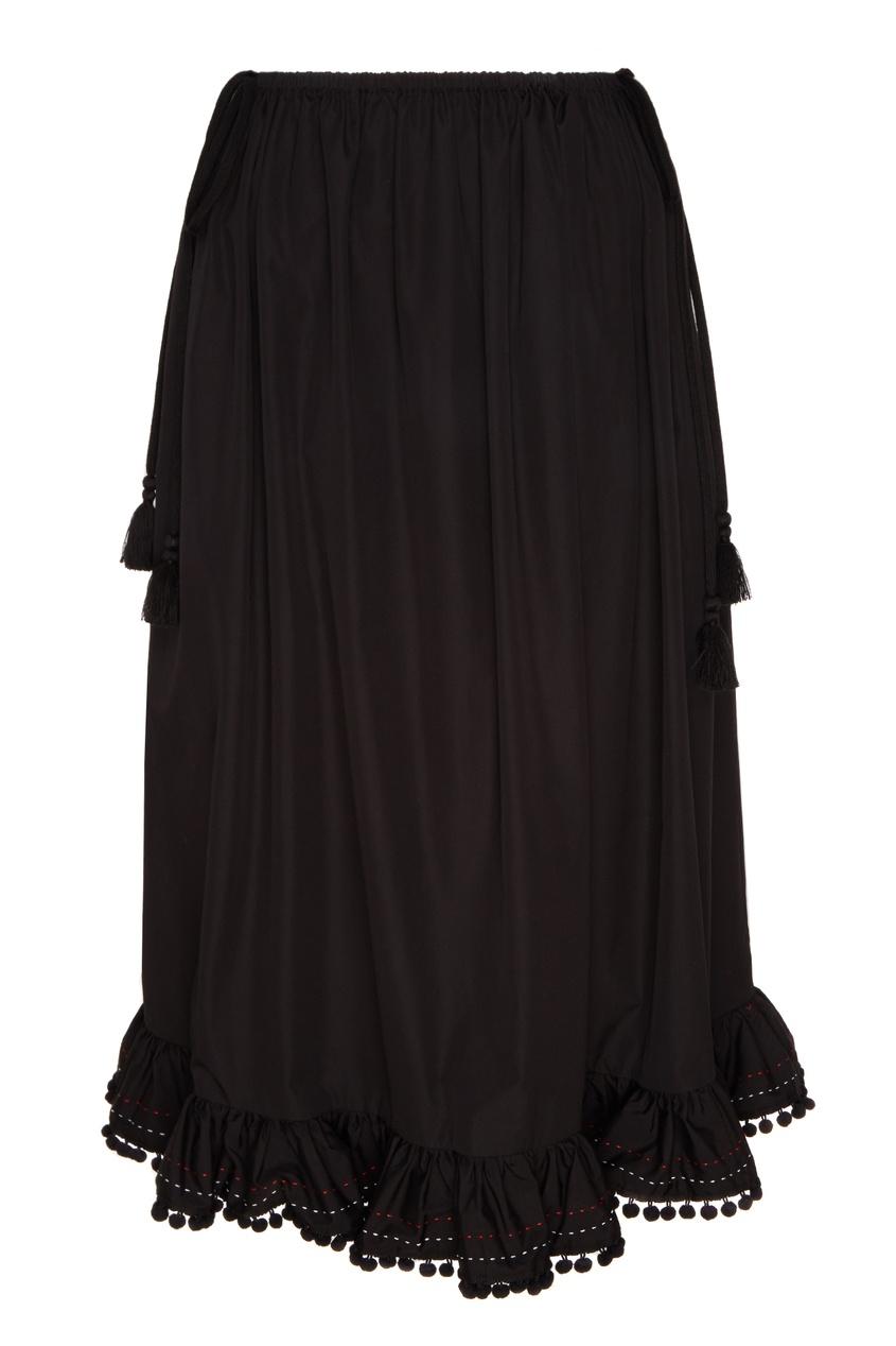 Купить Черная юбка миди с бахромой и помпонами от Miu Miu черного цвета
