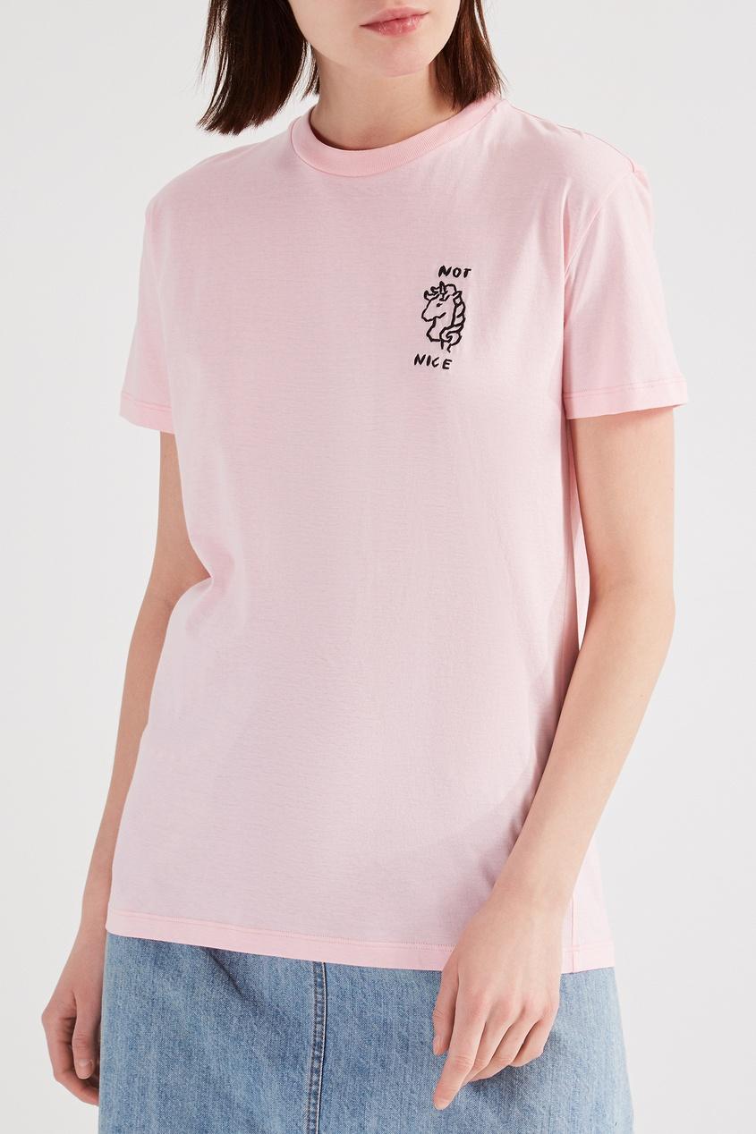 Фото 6 - Розовая футболка с черной вышивкой от Miu Miu розового цвета