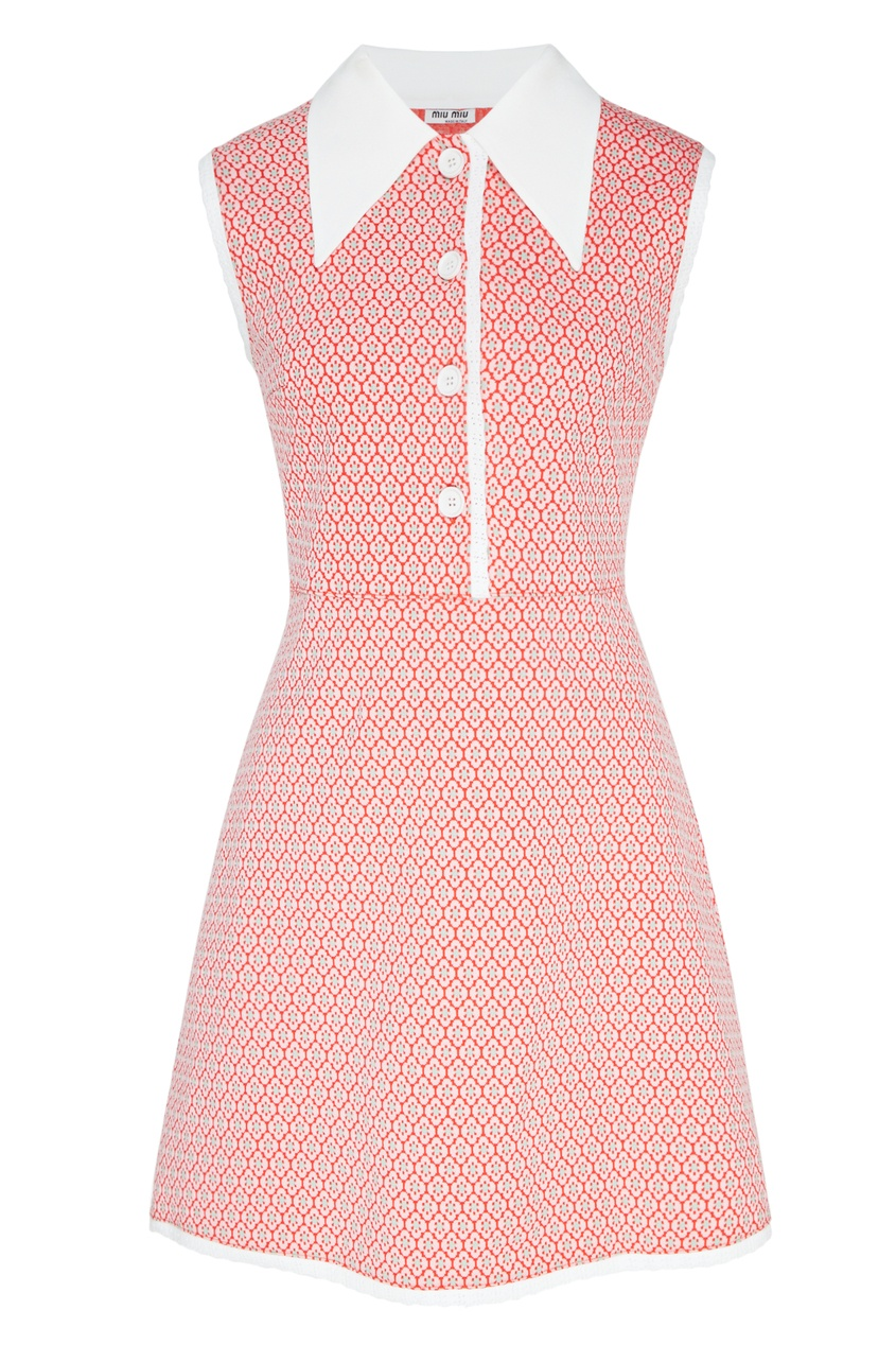 Фото - Платье мини с мелким принтом от Miu Miu розового цвета