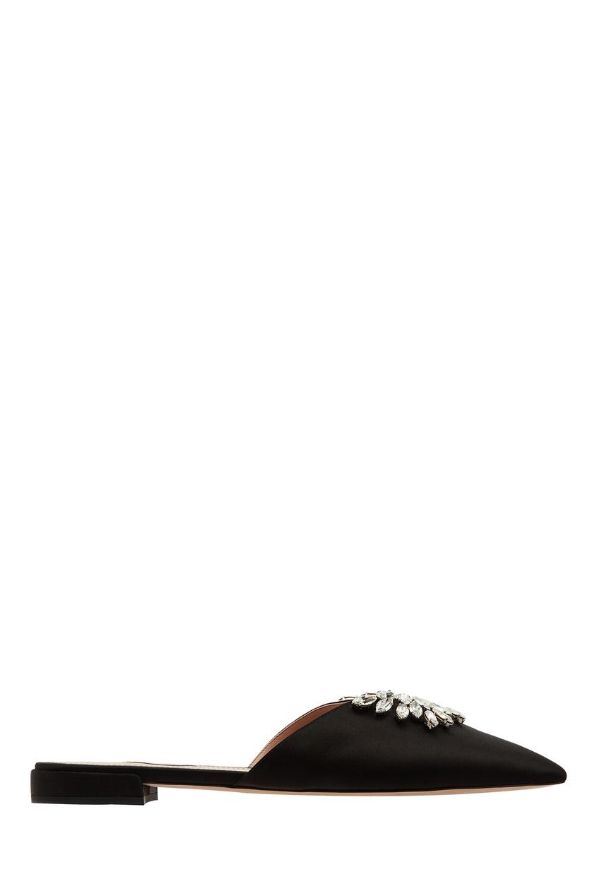 Черные атласные бабуши с кристаллами от Miu Miu