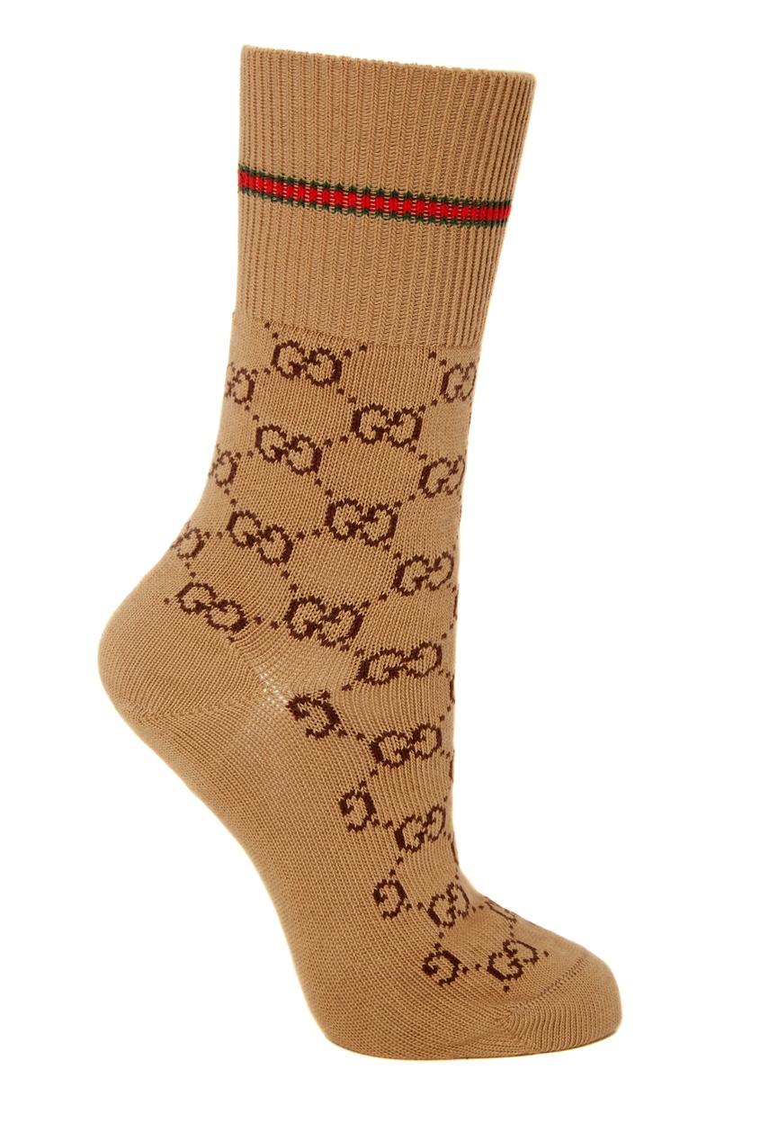 Бежевые носки с фирменным мотивом GG от Gucci