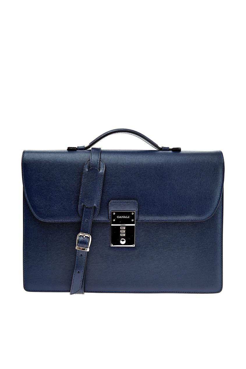 мужской портфель canali, синий