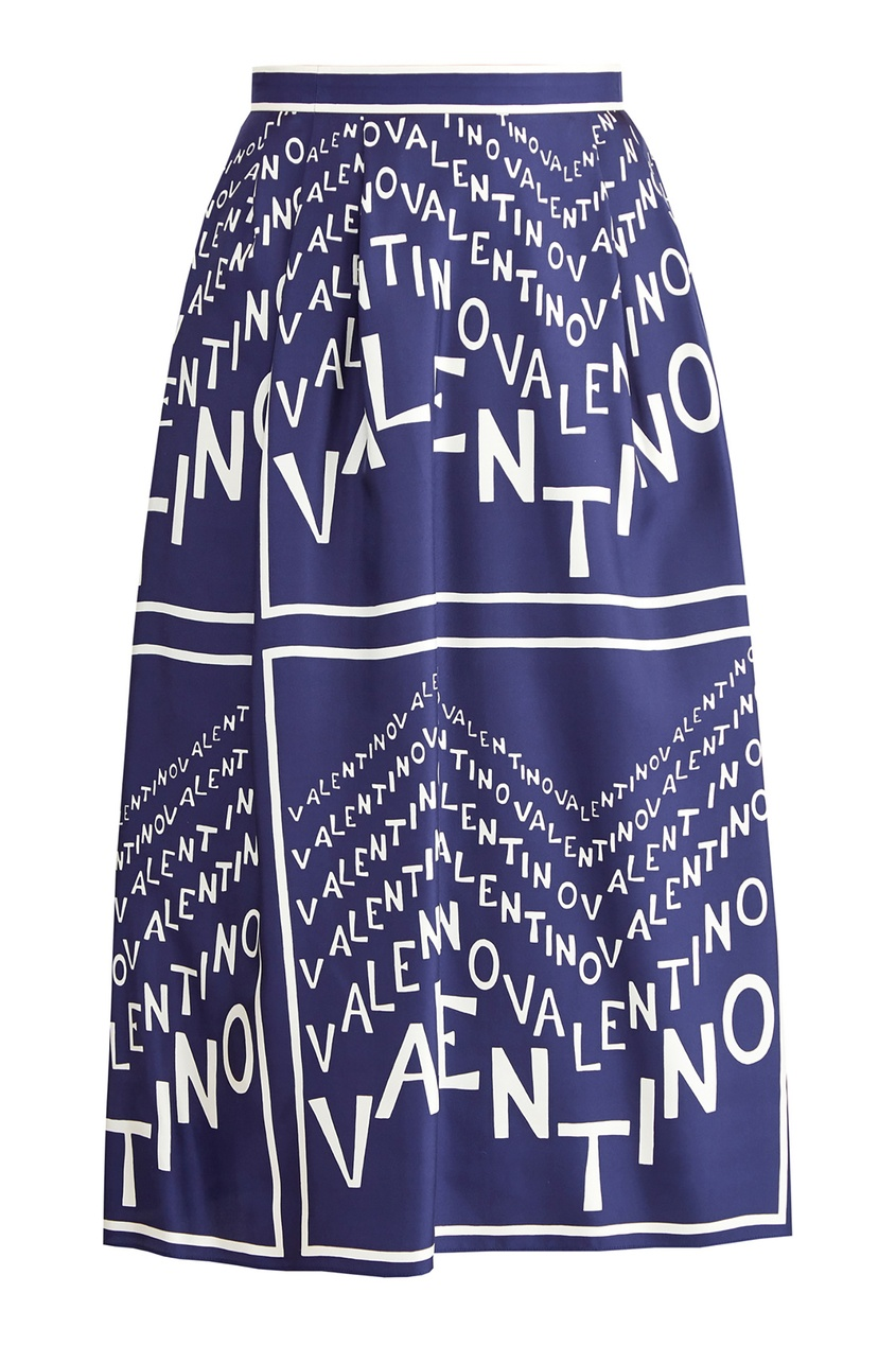 Купить со скидкой Синяя юбка с логотипами