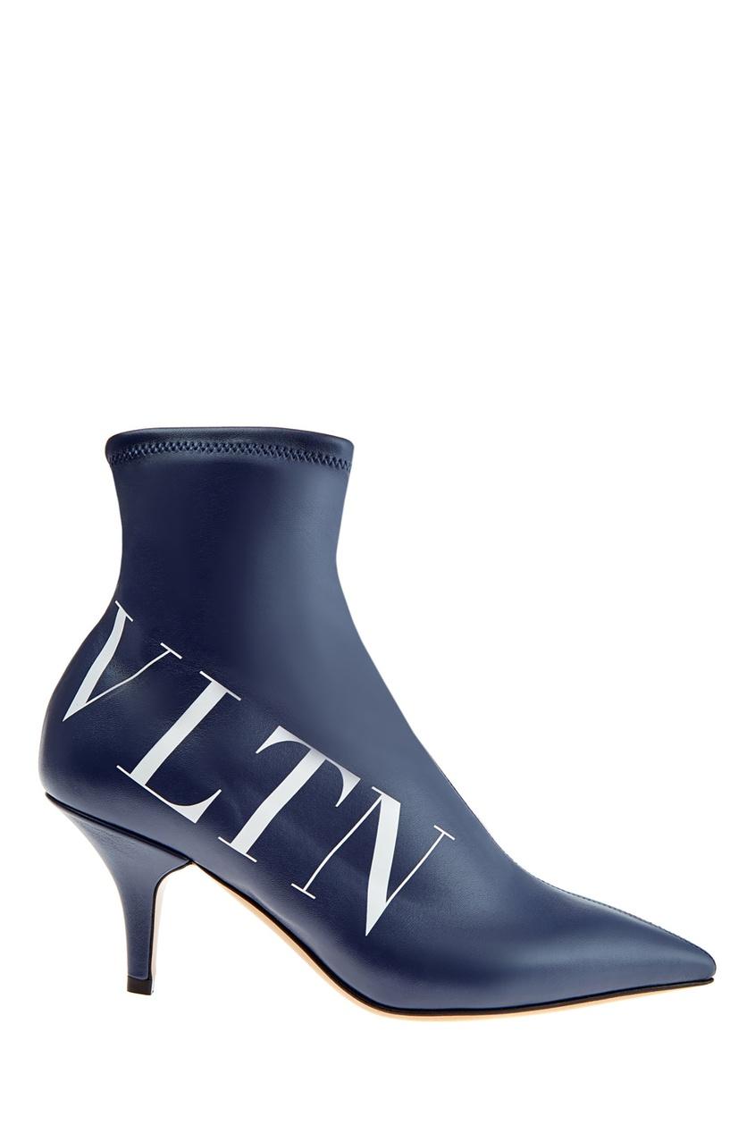 Купить со скидкой Синие ботильоны с логотипом VLTN
