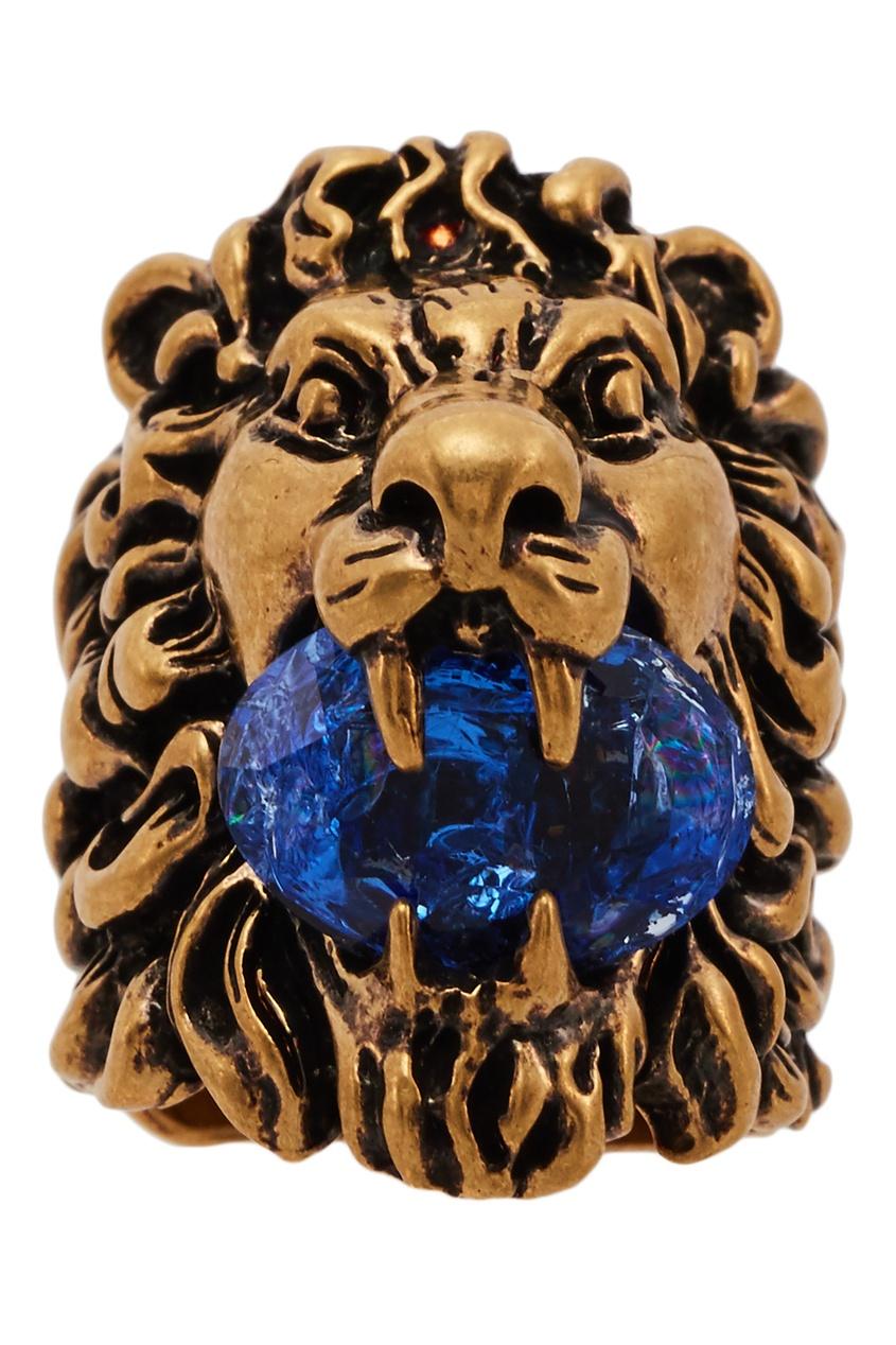 Кольцо в форме львиной головы с кристаллом от Gucci