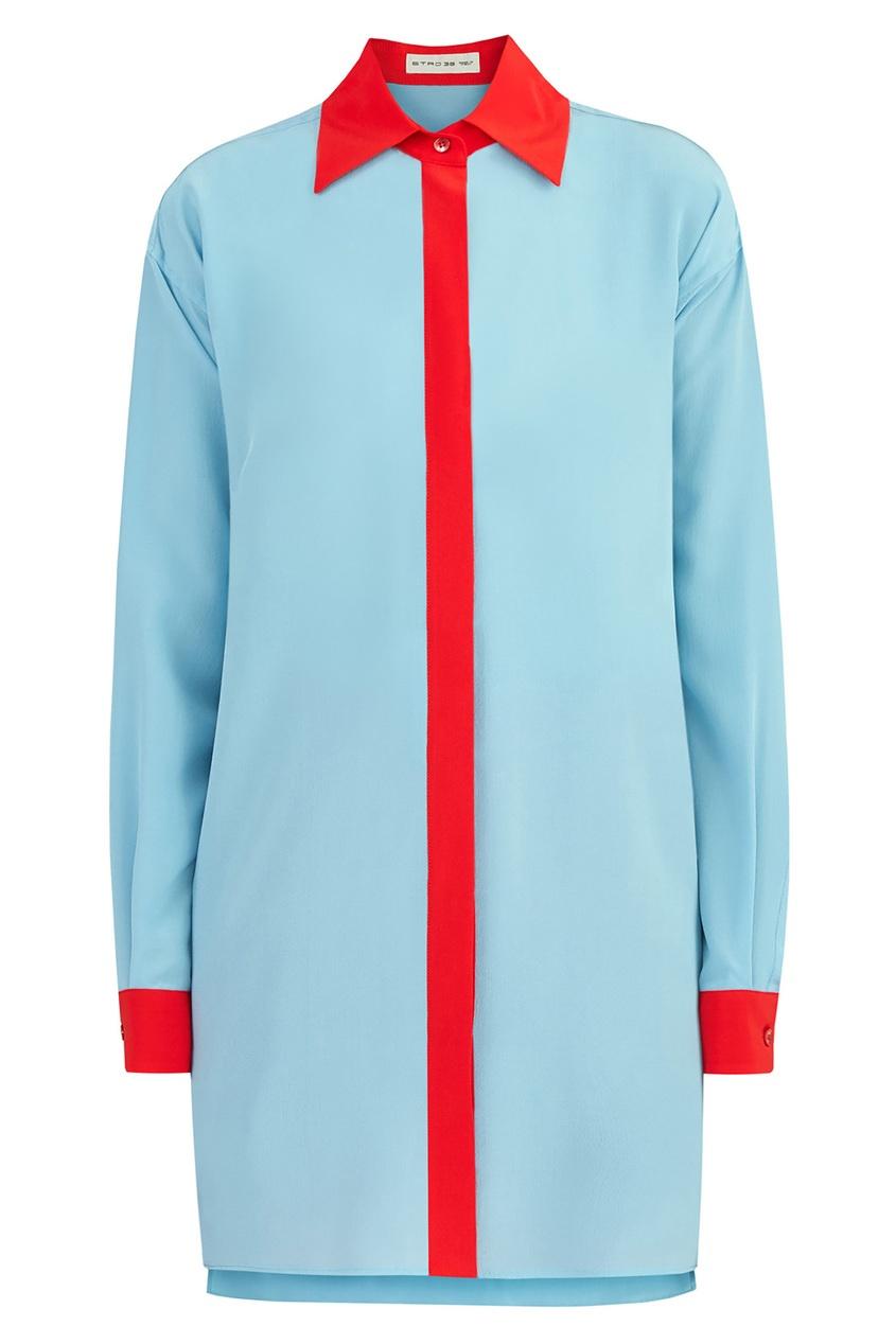 Купить Рубашку с контрастной отделкой от Etro голубого цвета