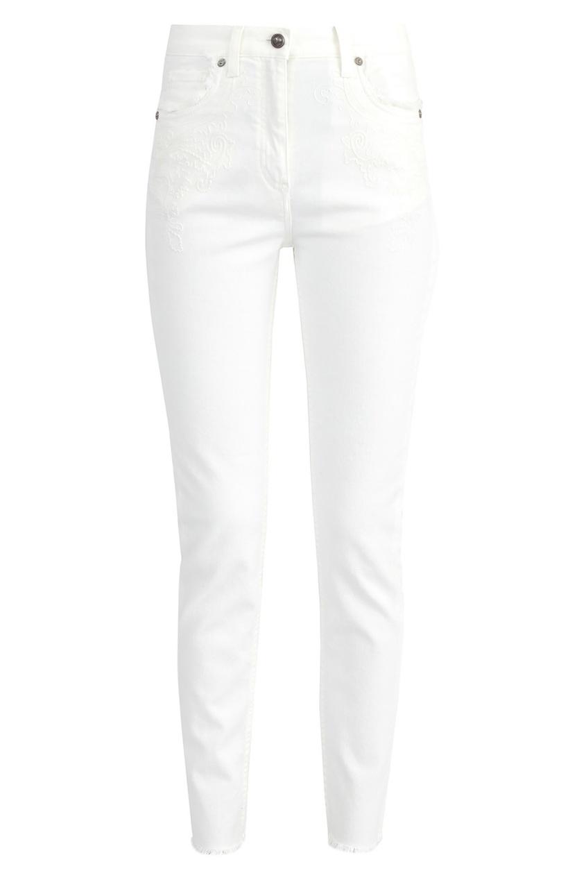 Купить Белые джинсы с бахромой от Etro бежевого цвета