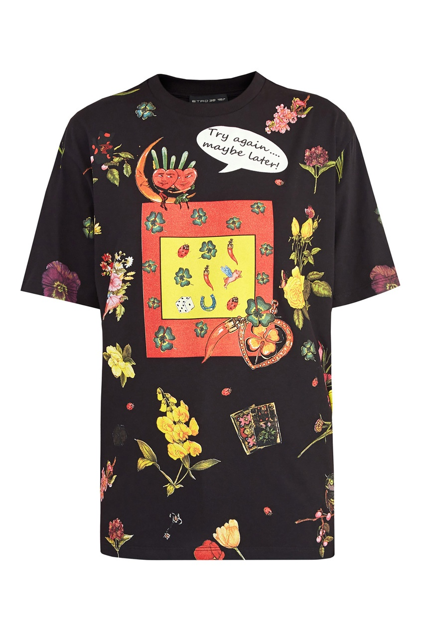 Купить Черная футболка с принтом от Etro цвет multicolor