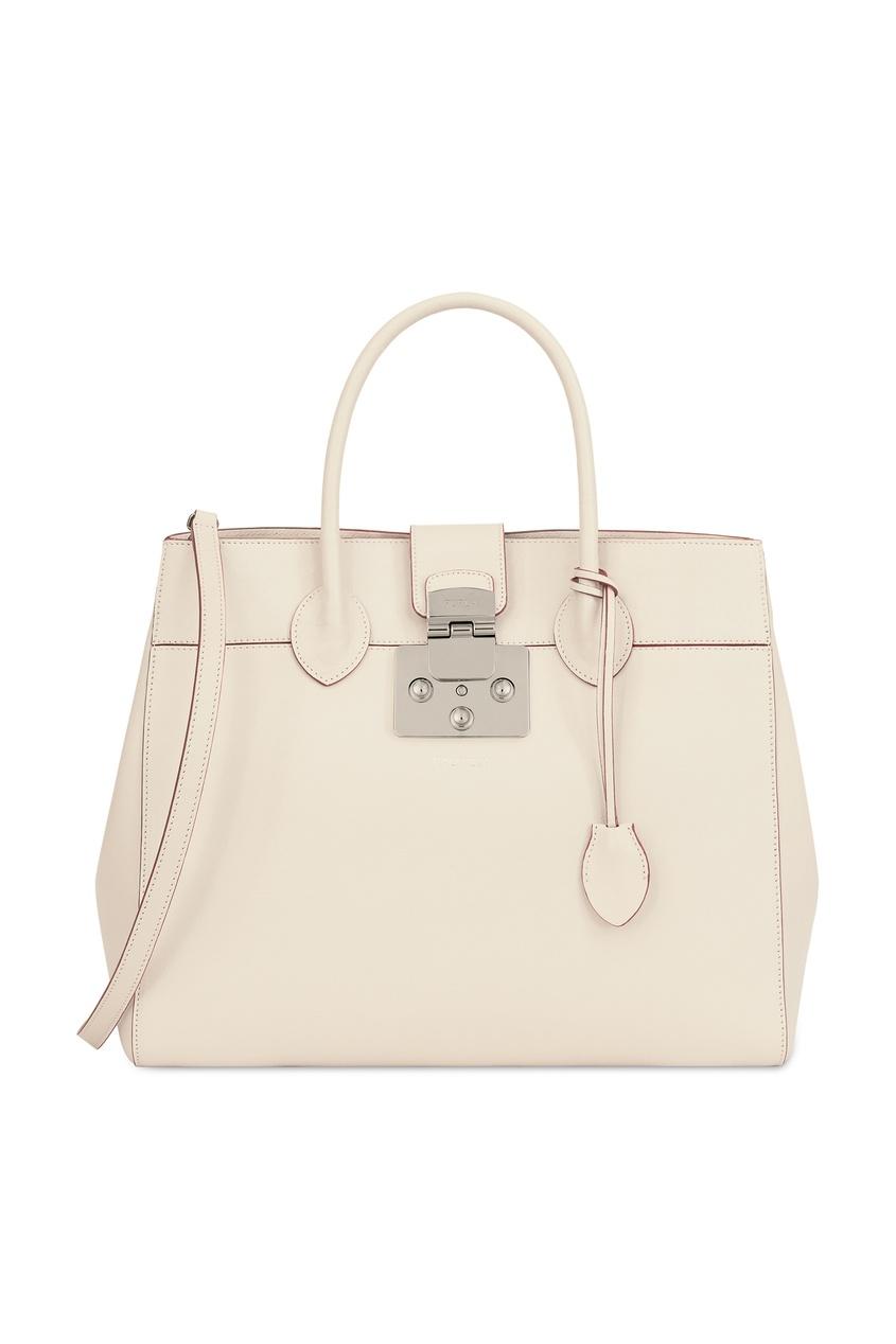 Купить Белая кожаная сумка Mantra бежевого цвета