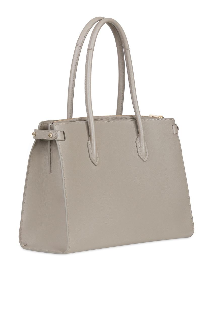 Фото 3 - Бежевая сумка Pin серого цвета