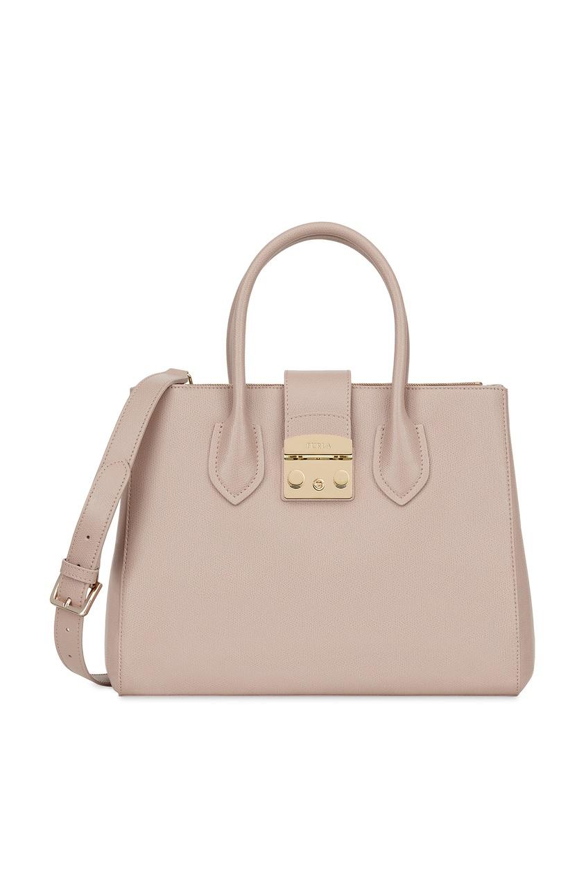 Купить Пудровая сумка Metropolis из кожи бежевого цвета